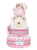 Picture of 345 Pink Teddy Bear 3-Tiers Diaper Cake