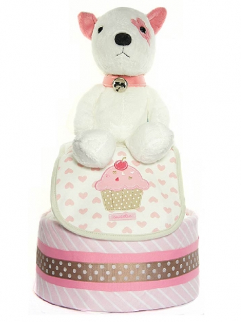 Picture of 340 Pink Doggie Baby Girl Diaper Cake