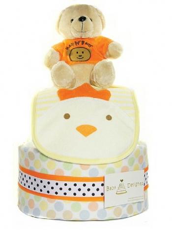 Picture of 304 Orange Teddy Bear Diaper Cake