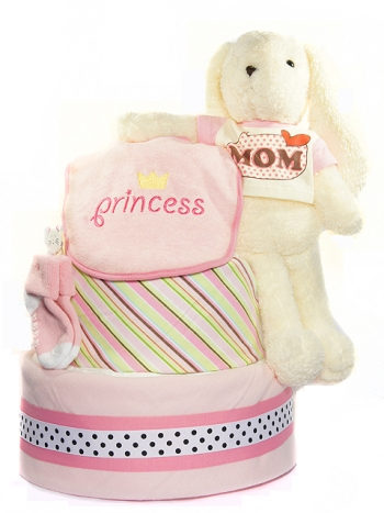 Picture of 305 Pink Bunny Mom Baby Diaper Cake